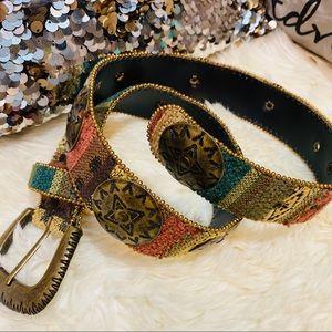 Vintage elite Aztec metal belt sz small
